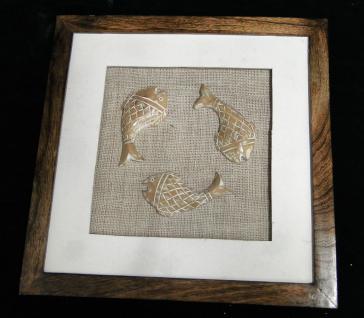 Wanddeko holz Wandekoration holz Mango 46x46x3 Wandbehang Handarbeit Antik