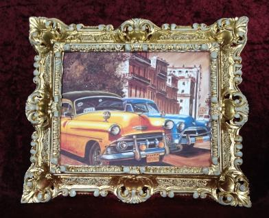 Auto Cuba Gelb Bild Rahmen Gold-Weiß Wandbild 45x38 Oldtimer Classic Cuban Auto