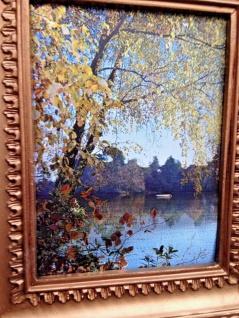 Gemälde 33x28 Antik Barock Bild mit Rahmen Landschaft See Berge Angebotspreis