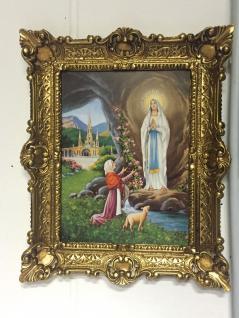Bild mit Rahmen Maria Lourdes 56x46 Heilige Christliche Bild Gemälde Madonna