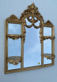 Wandspiegel/Konsole Antik Gold Bad Spiegel mit Ablage Kerzen 63X51 Spiegel