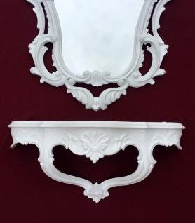 Wandspiegel Weiß mit Wandkonsole Antik Barock 50x76 Wandregal Badspiegel prunk