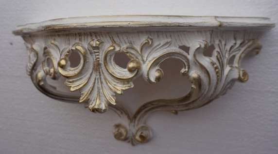 Wandkonsole Barock Weiß Gold 38x20 RETRO/Spiegelkonsole /Wandregal ANTIK 3083