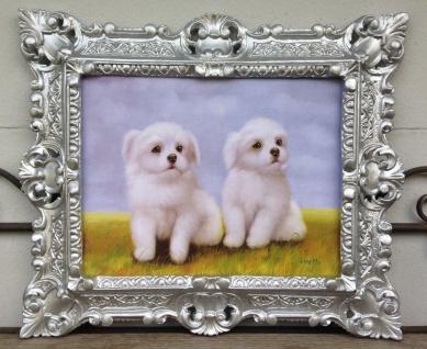 Gemälde weiße Hunde Welpen Bild Tiere 45x38 Kunstdruck Bild Wandbild Barock
