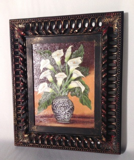 Ölgemälde Blumen Calla Bilderrahmen Gold 30x36cm ölbild mit Rahmen Schwarz
