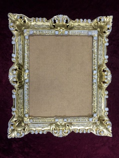 Bilderrahmen Jugendstil Gold-Weiß Antik Rechteckig 45x37 BAROCK Rückwand 103047