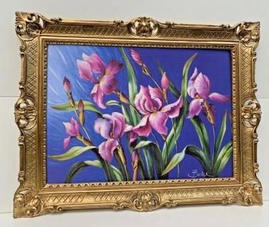 Gerahmte Gemälde Blumen Bilder 90x70 IRIS Blumen mit Rahmen stillleben WANDBILD