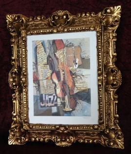 Bild mit Rahmen Musik Instrumente Trompete Saxophon Geige Jazz 45x38 Cafe Bild