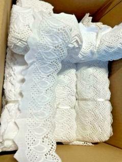 9 Meter Spitzenborte Baumwolle 80mm Weiß Borte Hochzeitsdeko Kissen Dekorativ
