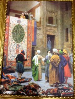 Bild Teppich Verkäufer orientalisches Bild auf MDF platte 50x70cm Ohne Rahmen