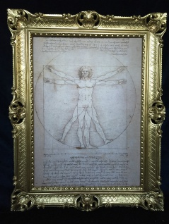 Gemälde Barock70x90 Bilderrahmen Antik Leonardo da Vinci Vitruvianischer Mensch