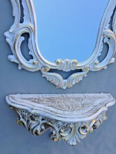 Wandspiegel mit Konsole Weiß Gold Antik Barock 50x76 Wandregal Telefontisch
