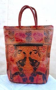 Handtasche Einkaufstasche mit Elefanten Motive Braun Schwarz 45cmNEU Damentasche