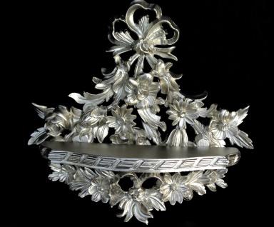 Wandkonsole Antik Silber/Wanddekoration Blumen /BAROCK Ablage Neu B:35cm cp83