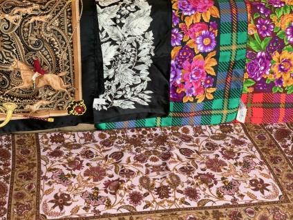 Bandana Halstuch Schal 90x90 Kopftuch Bunt Grün Blumen Tuch Made In ITALY
