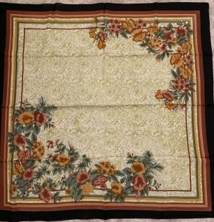 Halstuch Schal 110x110 Kopftuch Schwarz Braun Tuch Blumen Schultertuch bügelfrei
