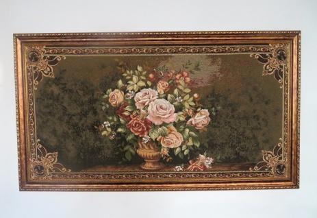 Gobelinstickerei gerahmt Gold Blumenmuster 135x76cm Bild blumen Rosen mit Rahmen