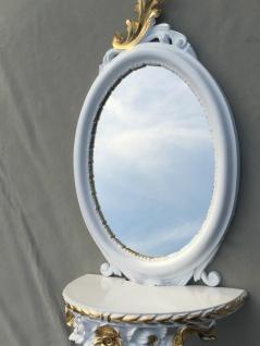 Wandspiegel Weiß Silber Barock mit Wandkonsole Antik Spiegel 48x25 Oval cp91 - Vorschau 4