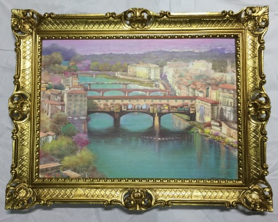 Bilder Italien Gemälde 90x70 Florenz Brücke Venezia Aquarell Ponte Vecchio