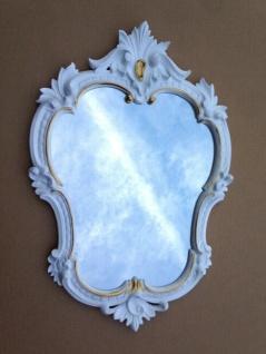 Wandspiegel Antik Oval Weiß-Gold Retro Spiegel Barock 50X35 jugendstil c444 Neu