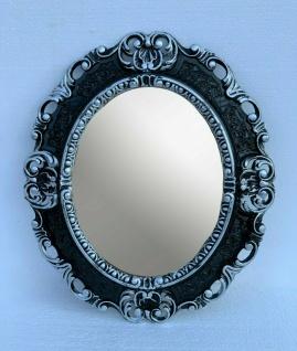 Wandspiegel Schwarz Silber Oval Barock Antik 45x38 Badspiegel Prunk Rokoko Retro