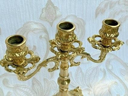 Kerzenständer Messing Barock 3 Flammig Kerzenhalter Antik Kerzenleuchter 23 cm - Vorschau 3
