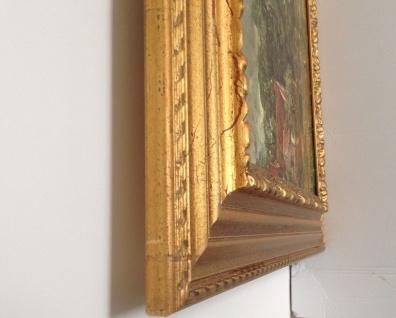 Bild mit Rahmen Holz Gemälde 90x70cm Landschafts Fluss Bauern Kutsche Wunschbild - Vorschau 5