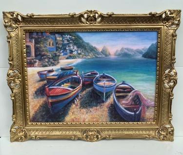 Bild mit Rahmen Boote Meer Gemälde Schiffe See Bild Fischerboot Kunstdruckbild