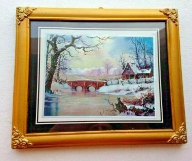 Bild mit Rahmen Haus an der Brücke Winter Schnee Wandbild Gold 31x26cm