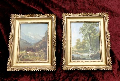 2 x Bilderrahmen Gemälde 33x28 Antik BAROCK Rechteckig Bild LEINWAND Landschaft