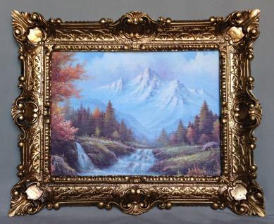 Bild mit Rahmen Gerahmte Gemälde 57x47 Wald Landschafts Wälder Berge Fluss L10