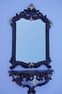 Wandspiegel mit Konsole schwarz Silber57x37 Flurspiegel mit Ablage Telefontisch
