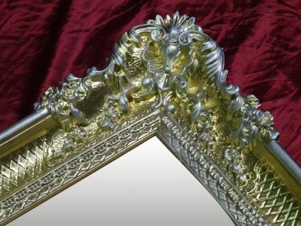 Wandspiegel Antik Barock GOLD-Silber Spiegel Repro DEKO 97x57 Groß Ornamente - Vorschau 5