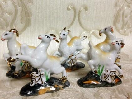 5 x Ziegen Tiere Ziegenbock vergoldet Vitrinenobjekt Porzellan Figur Giftbox