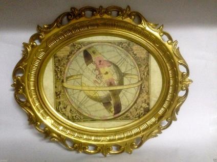 Gemälde Alte Landkarte Mittelalter Bild mit Rahmen Horizont Welt Landkarte