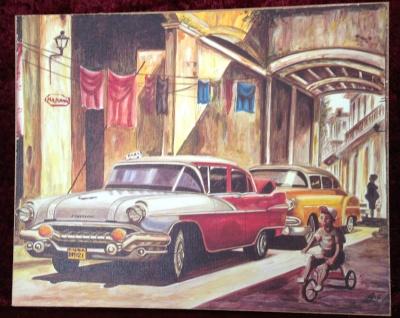 Auto Cuba Rot Pontiac Bild Wandbild auf MDF 50x70 Oldtimer Classic Cuban Auto
