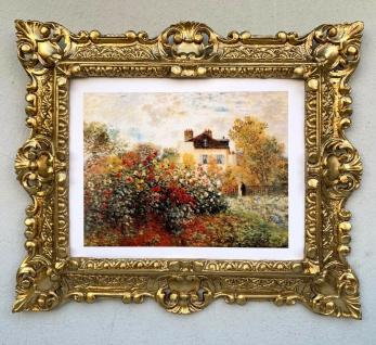Gerahmte Barock Bild Claude Monet Der Künstlergarten in Argenteuil Wandbild 45cm