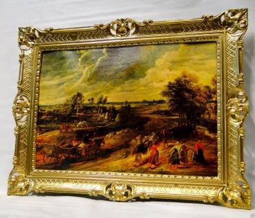 Bild mit Rahmen Gerahmte Gemälde 90x70 Landschafts Kunstdruck Pferde Kutsche 1