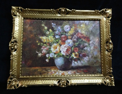 Gerahmte Gemälde Blumen Bilder 90x70 Blumen mit Vase Blau Bild mit Rahmen 01-04 - Vorschau 2