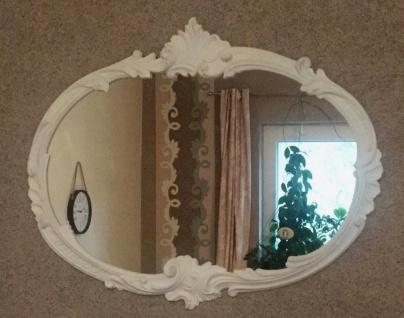 Wandspiegel Barock Oval Antik weiß 52x42 Badspiegel Vintage Retro Spiegel C17