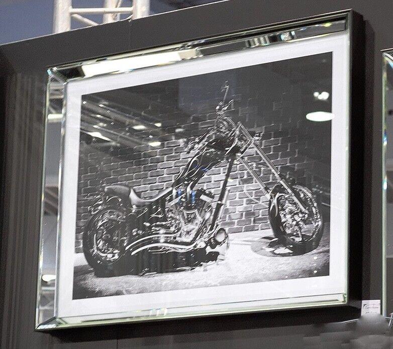 Wandbild Motorrad Schopper Spiegelrahmen Glas 80x60 cm schwarz/weiß ...