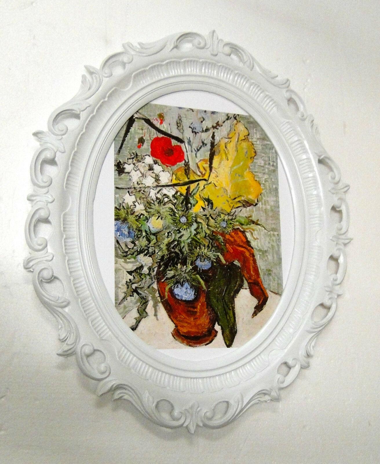 Bezaubernd Wandbilder Blumen Foto Von Gemälde 68x58 Bilderrahmen Weiß Y840 5