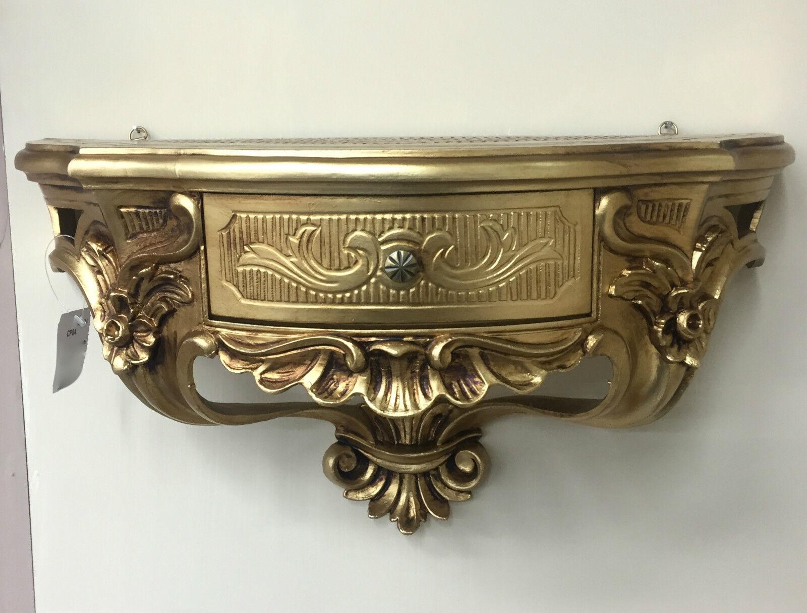 Wandkonsole Mit Schubladespiegelkonsolewandregal Barock Gold 50x27