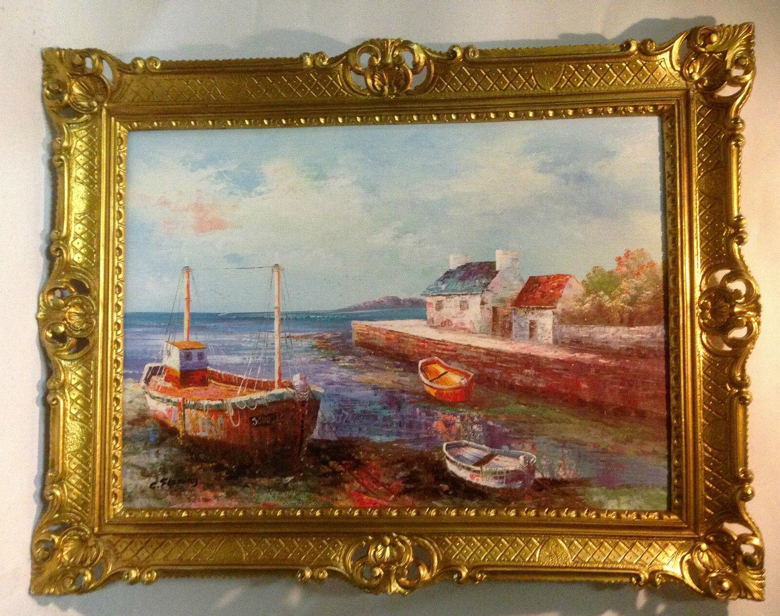 Bilderrahmen Gerahmte Gemälde Boot 90x70 Antik Hafen Boote Schiffe ...