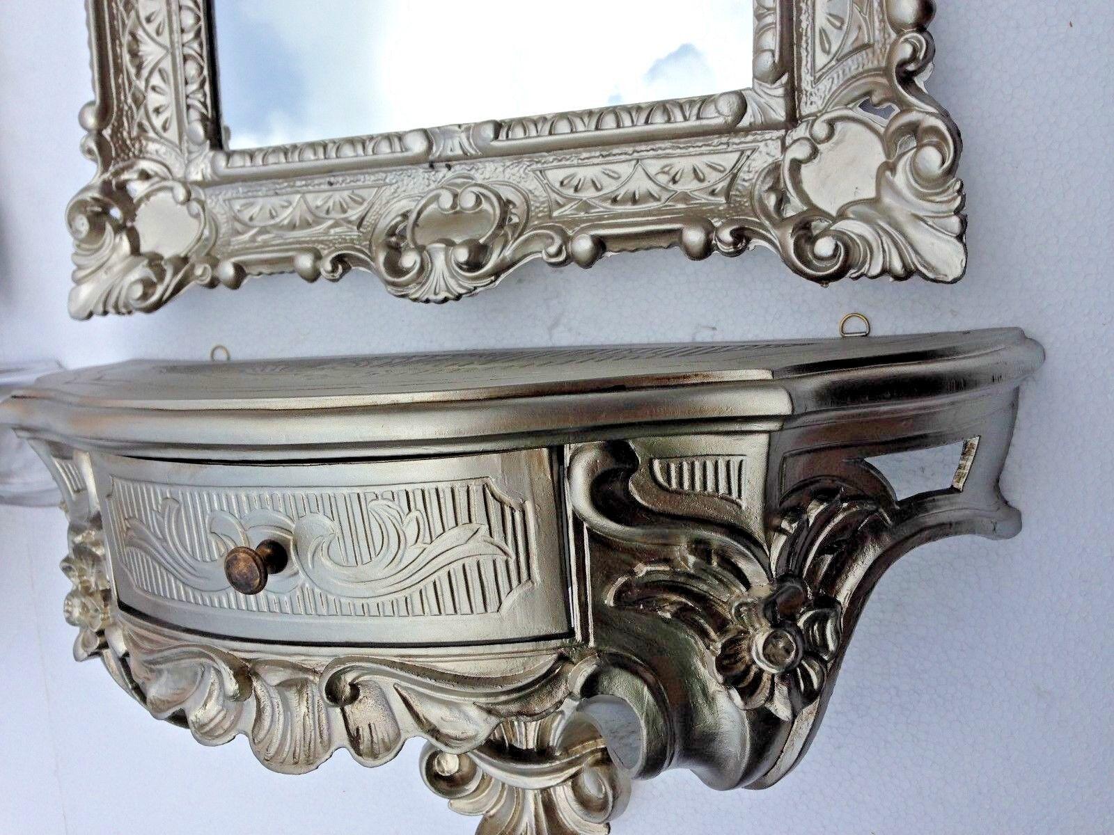 Wandkonsole Spiegelkonsolen Wandregal Alt Silber Barock 50x24x20