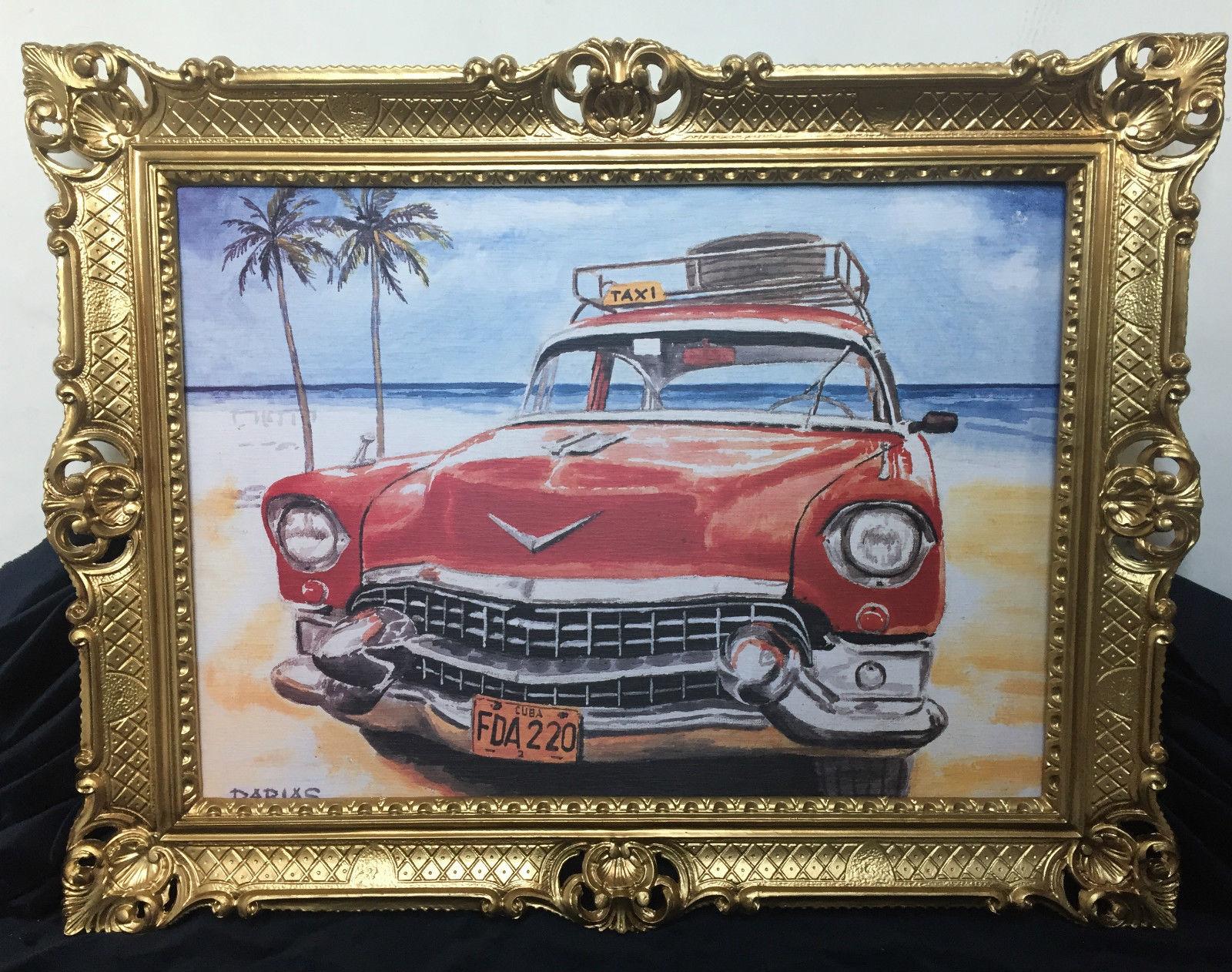Auto Cuba Taxi Rot Bild Rahmen 70x90 Oldtimer Classic Cuban Auto ...