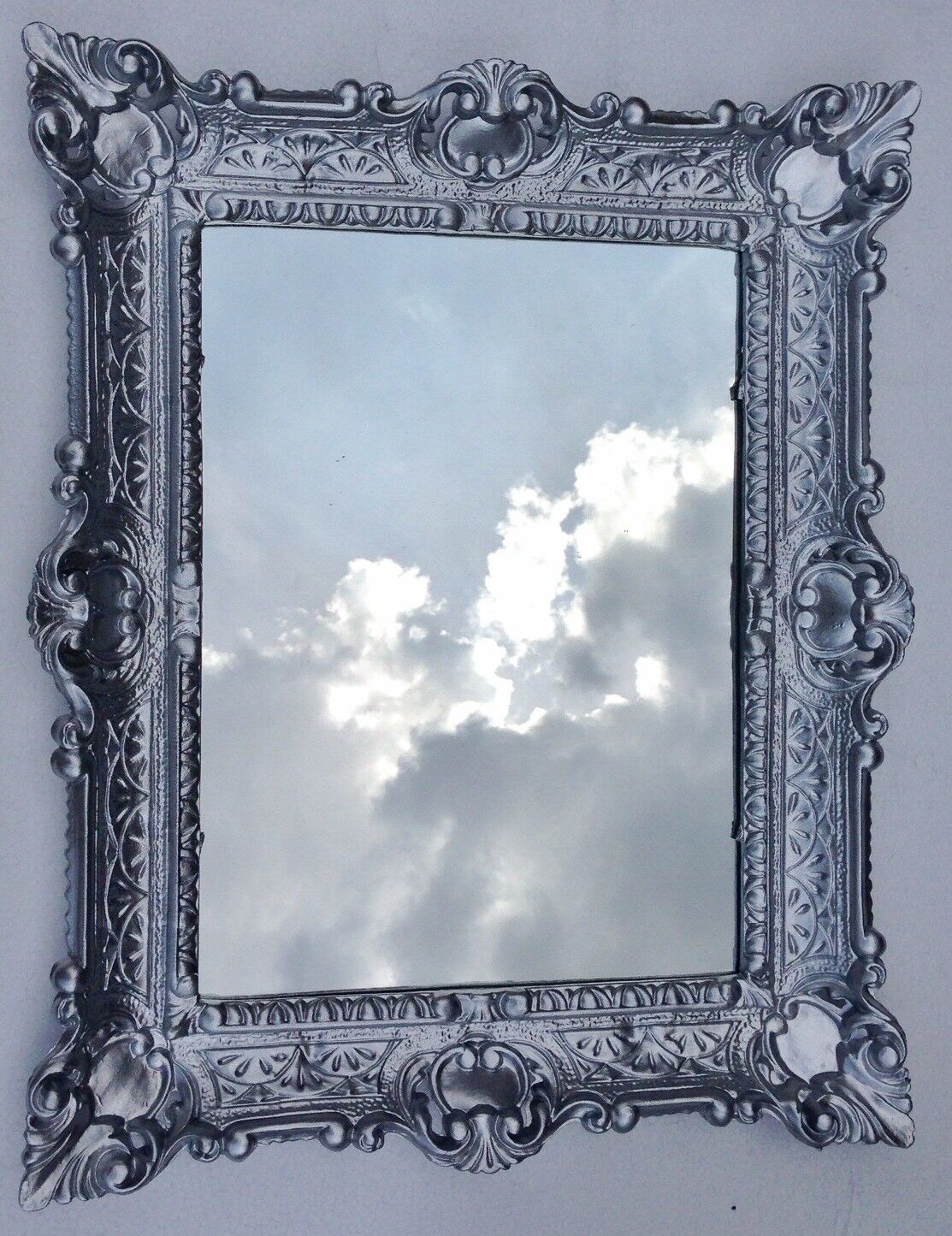 Spiegel SET silber Fotorahmen Bilder 13x18 Rahmen Barock 2x Bilderrahmen