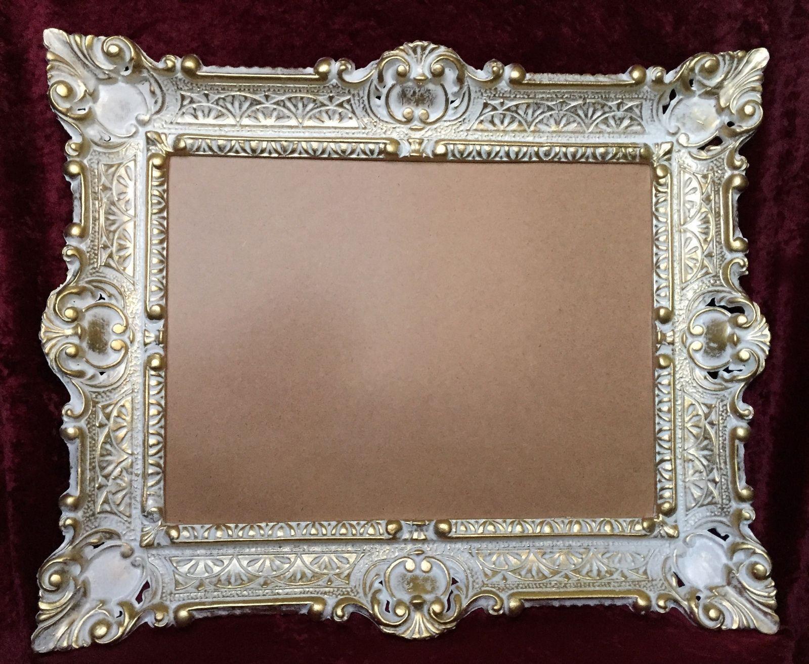 Bilderrahmen Weiß-Gold mit glas 56x46 Gemälde rahmen Antik ...