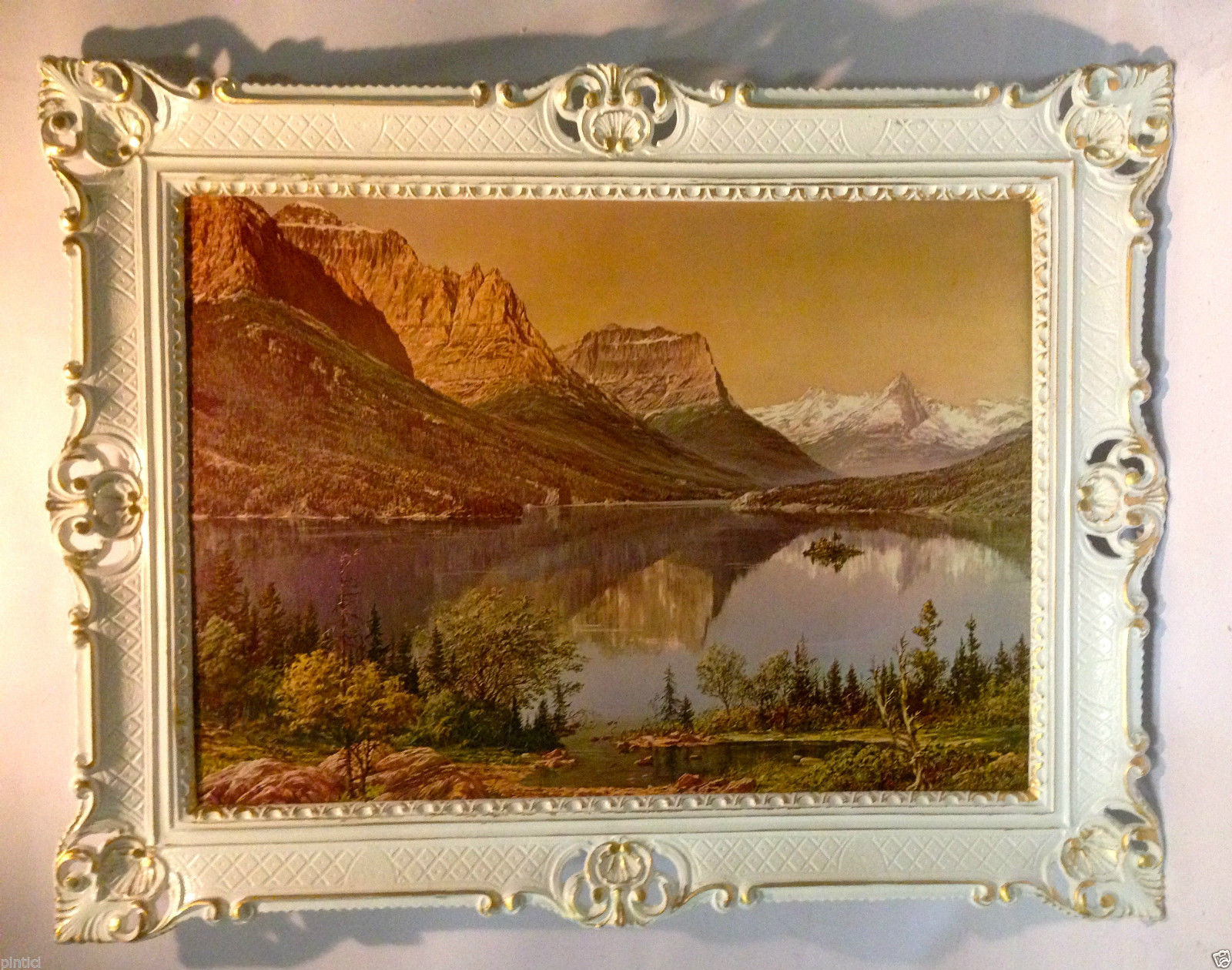 Gerahmte Bilder Wohnzimmer ~ Landschaftsgemälde berge see meer bäume wohnzimmerbild
