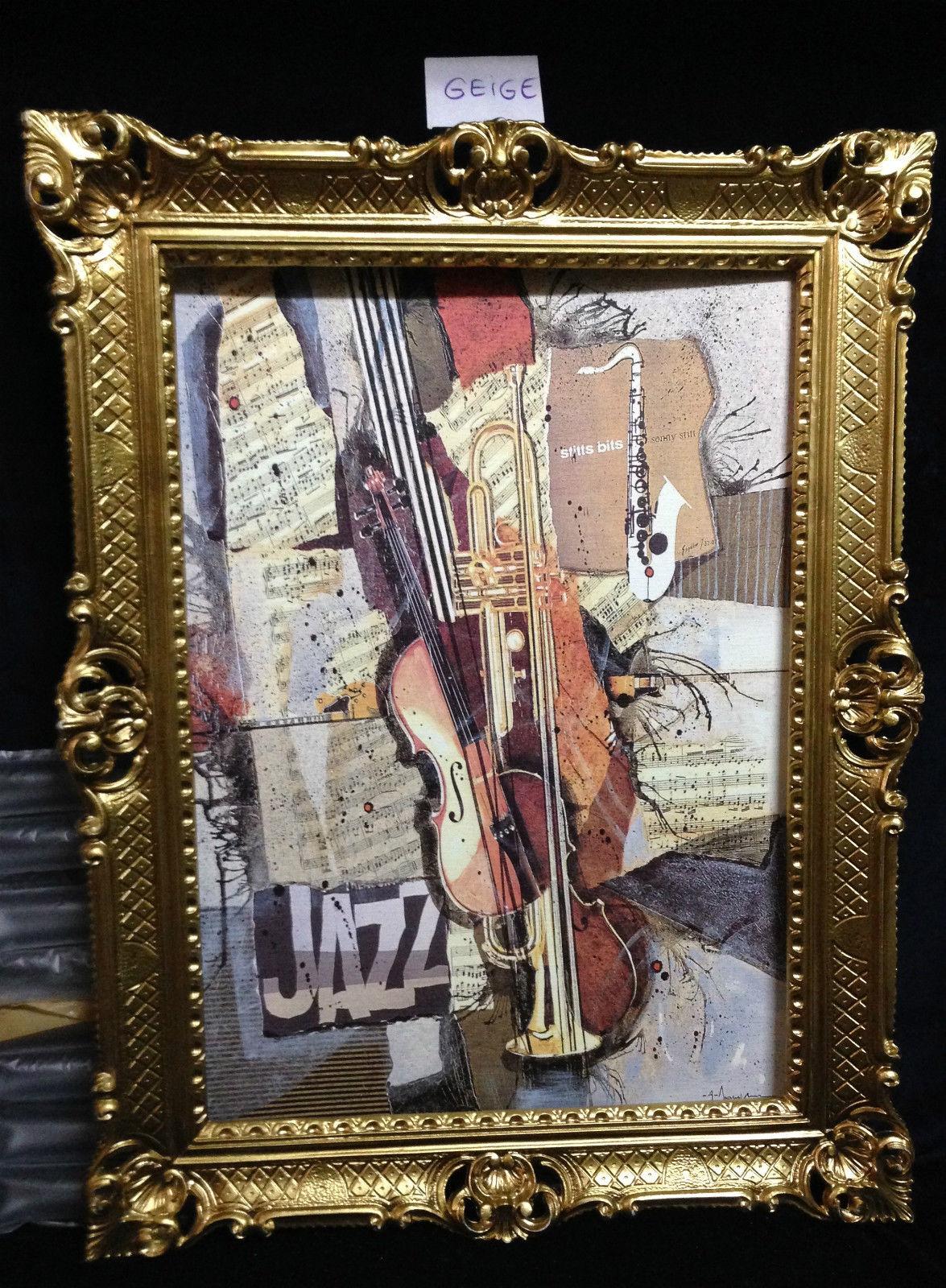 Gerahmte Gemälde Jazz Music 90X70 Geige und Trompete Bild mit Rahmen ...